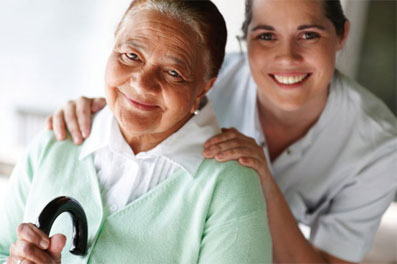 female caregiver with a senior woman - women in caregiving- Neighborly Home Care