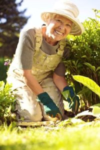 Senior woman gardening | preparing seniors for flu season | Neighborly Home Care