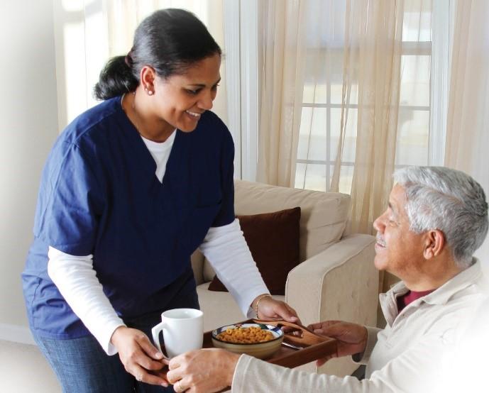 Nurse with an elderly man. Neighborly Home Care Pennsylvania.