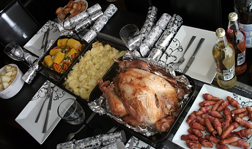 Festive turkey dinner with side dishes - Senior companionship is a great need during the holidays